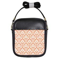 Nectarine Orange Damask Pattern Girls Sling Bag