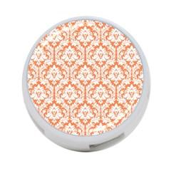 White On Orange Damask 4-Port USB Hub (One Side)