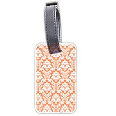 White On Orange Damask Luggage Tag (One Side)