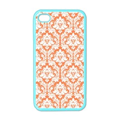 White On Orange Damask Apple Iphone 4 Case (color)