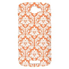 White On Orange Damask HTC One S Hardshell Case