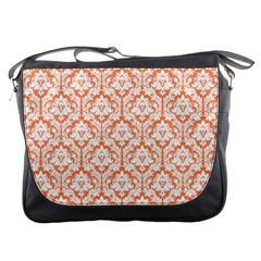 Nectarine Orange Damask Pattern Messenger Bag