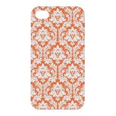 White On Orange Damask Apple iPhone 4/4S Premium Hardshell Case