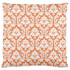 Nectarine Orange Damask Pattern Large Cushion Case (One Side)