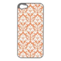 White On Orange Damask Apple iPhone 5 Case (Silver)