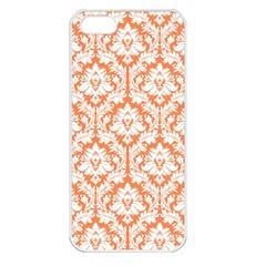 White On Orange Damask Apple Iphone 5 Seamless Case (white)