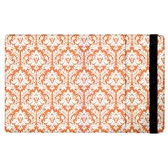 White On Orange Damask Apple iPad 3/4 Flip Case
