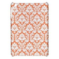 White On Orange Damask Apple iPad Mini Hardshell Case