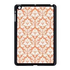 White On Orange Damask Apple Ipad Mini Case (black)