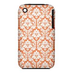 White On Orange Damask Apple iPhone 3G/3GS Hardshell Case (PC+Silicone)