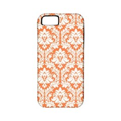 White On Orange Damask Apple Iphone 5 Classic Hardshell Case (pc+silicone)