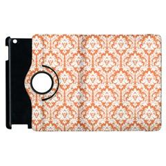White On Orange Damask Apple Ipad 3/4 Flip 360 Case