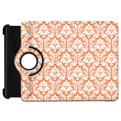 White On Orange Damask Kindle Fire HD 7  (1st Gen) Flip 360 Case