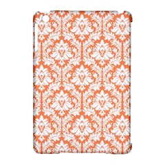 White On Orange Damask Apple iPad Mini Hardshell Case (Compatible with Smart Cover)