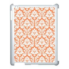 White On Orange Damask Apple iPad 3/4 Case (White)