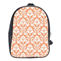 White On Orange Damask School Bag (xl)