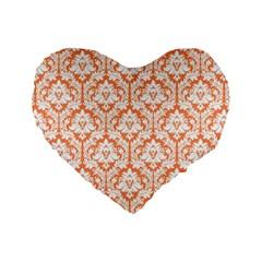 Nectarine Orange Damask Pattern Standard 16  Premium Heart Shape Cushion