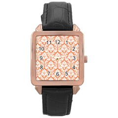 White On Orange Damask Rose Gold Leather Watch