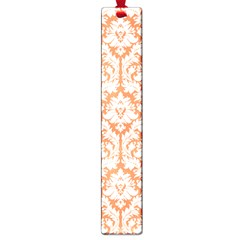 White On Orange Damask Large Bookmark