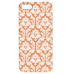 White On Orange Damask Apple iPhone 5 Hardshell Case with Stand