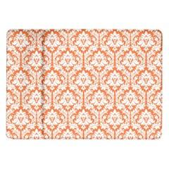 White On Orange Damask Samsung Galaxy Tab 10 1  P7500 Flip Case