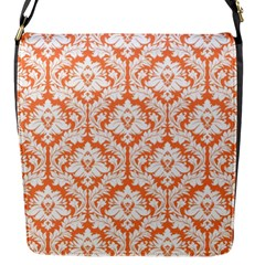 Nectarine Orange Damask Pattern Flap Closure Messenger Bag (S)