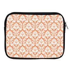White On Orange Damask Apple iPad Zippered Sleeve