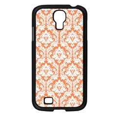White On Orange Damask Samsung Galaxy S4 I9500/ I9505 Case (Black)