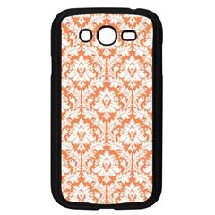 White On Orange Damask Samsung Galaxy Grand Duos I9082 Case (black)