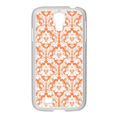 White On Orange Damask Samsung GALAXY S4 I9500/ I9505 Case (White)