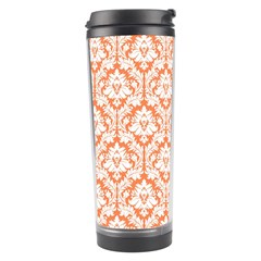 White On Orange Damask Travel Tumbler