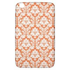 White On Orange Damask Samsung Galaxy Tab 3 (8 ) T3100 Hardshell Case