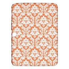 White On Orange Damask Samsung Galaxy Tab 3 (10.1 ) P5200 Hardshell Case