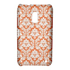 White On Orange Damask Nokia Lumia 620 Hardshell Case