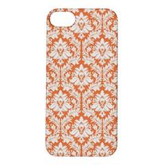 White On Orange Damask Apple iPhone 5S Hardshell Case