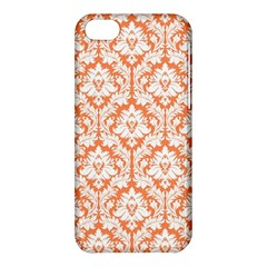 White On Orange Damask Apple iPhone 5C Hardshell Case
