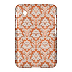 White On Orange Damask Samsung Galaxy Tab 2 (7 ) P3100 Hardshell Case
