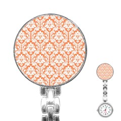 White On Orange Damask Stainless Steel Nurses Watch