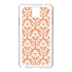White On Orange Damask Samsung Galaxy Note 3 N9005 Case (white)