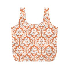 Nectarine Orange Damask Pattern Full Print Recycle Bag (M)