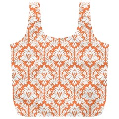 Nectarine Orange Damask Pattern Full Print Recycle Bag (xl)