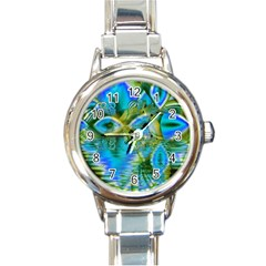 Mystical Spring, Abstract Crystal Renewal Round Italian Charm Watch