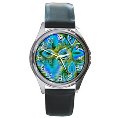 Mystical Spring, Abstract Crystal Renewal Round Leather Watch (Silver Rim)