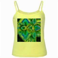 Mystical Spring, Abstract Crystal Renewal Yellow Spaghetti Tank