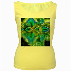 Mystical Spring, Abstract Crystal Renewal Women s Tank Top (Yellow)