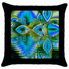 Mystical Spring, Abstract Crystal Renewal Black Throw Pillow Case