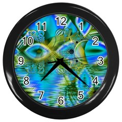 Mystical Spring, Abstract Crystal Renewal Wall Clock (black)