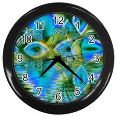 Mystical Spring, Abstract Crystal Renewal Wall Clock (Black)
