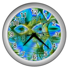 Mystical Spring, Abstract Crystal Renewal Wall Clock (Silver)