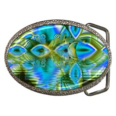 Mystical Spring, Abstract Crystal Renewal Belt Buckle (oval)